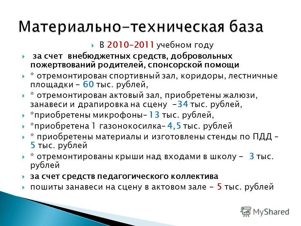 В 2010-2011 учебном году за счет внебюджетных средств, добровольных пожертвований родителей, спонсорской помощи * отремонтирован спортивный зал, коридоры, лестничные площадки - 60 тыс. рублей, * отремонтирован актовый зал, приобретены жалюзи, занавес