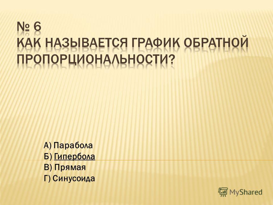 А) Парабола Б) Гипербола В) Прямая Г) Синусоида