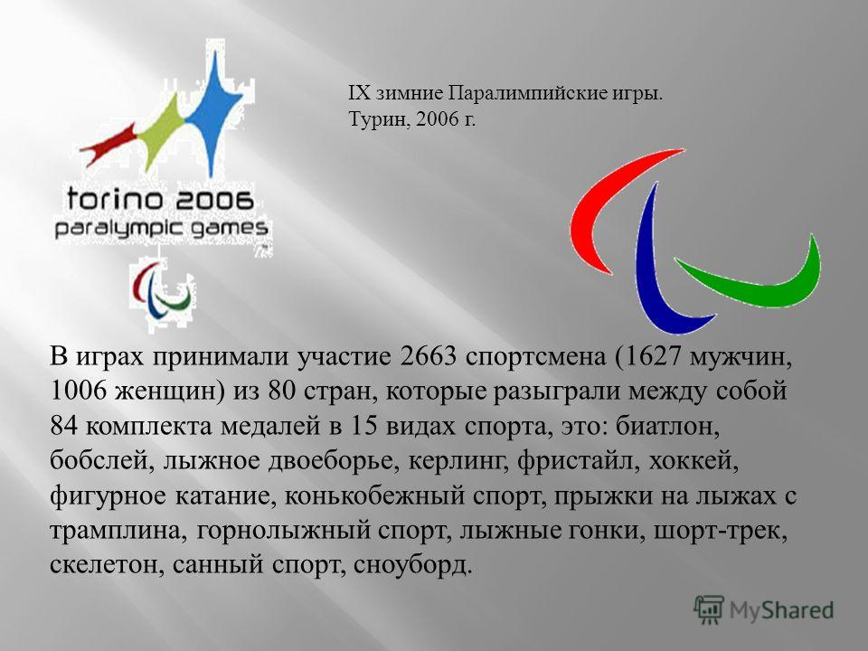 IX зимние Паралимпийские игры. Турин, 2006 г. В играх принимали участие 2663 спортсмена (1627 мужчин, 1006 женщин) из 80 стран, которые разыграли между собой 84 комплекта медалей в 15 видах спорта, это: биатлон, бобслей, лыжное двоеборье, керлинг, фр