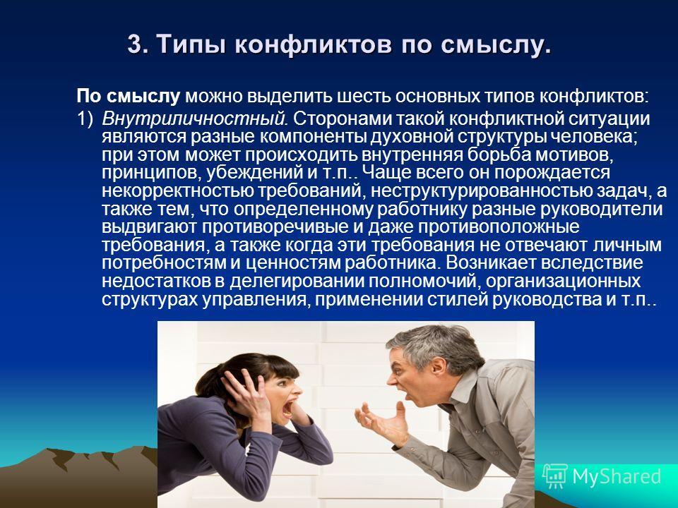 3. Типы конфликтов по смыслу. По смыслу можно выделить шесть основных типов конфликтов: 1)Внутриличностный. Сторонами такой конфликтной ситуации являются разные компоненты духовной структуры человека; при этом может происходить внутренняя борьба моти