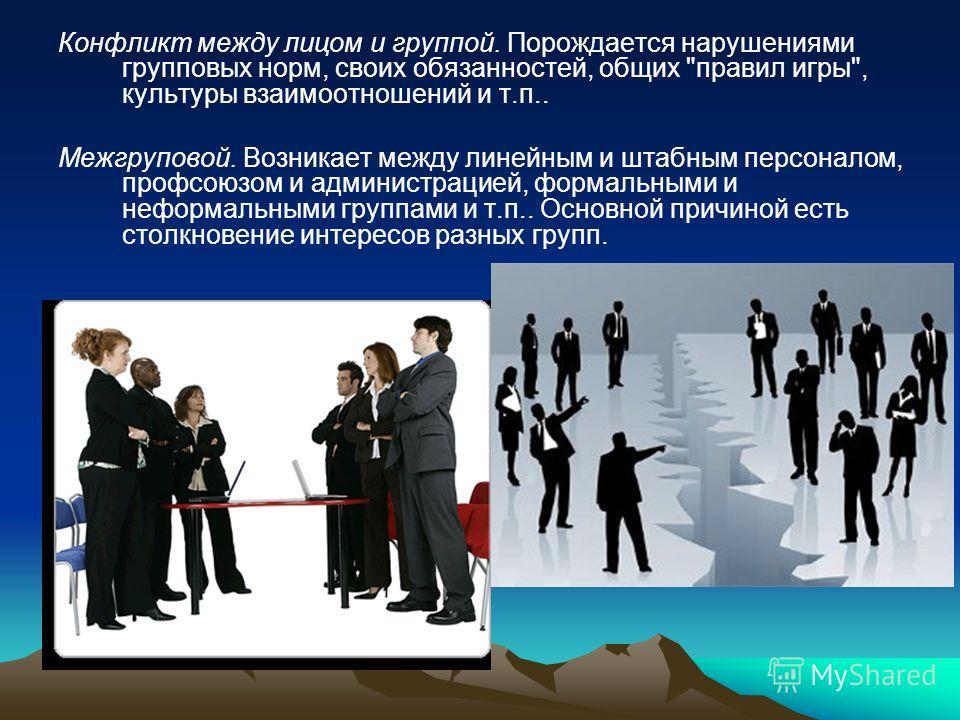 Конфликт между лицом и группой. Порождается нарушениями групповых норм, своих обязанностей, общих