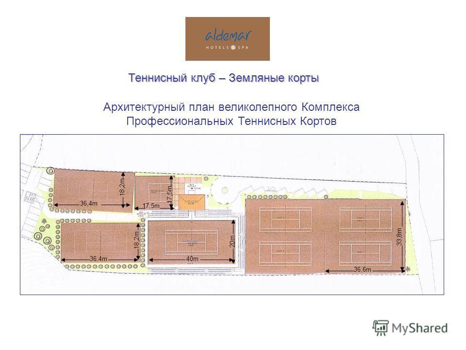 Архитектурный план великолепного Комплекса Профессиональных Теннисных Кортов 40m 20m 17,5m 36,4m 18,2m 36,4m 18,2m 36,6m 33,8m Теннисный клуб – Земляные корты