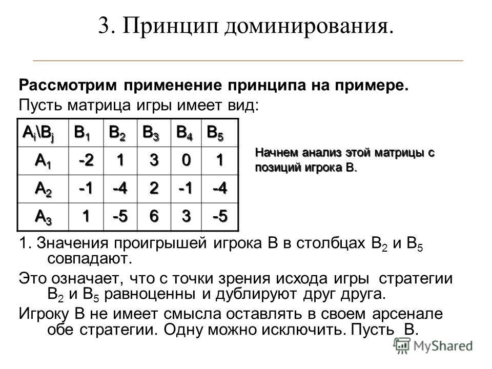 3. Принцип доминирования. Рассмотрим применение принципа на примере. Пусть матрица игры имеет вид: 1. Значения проигрышей игрока В в столбцах В 2 и В 5 совпадают. Это означает, что с точки зрения исхода игры стратегии В 2 и В 5 равноценны и дублируют