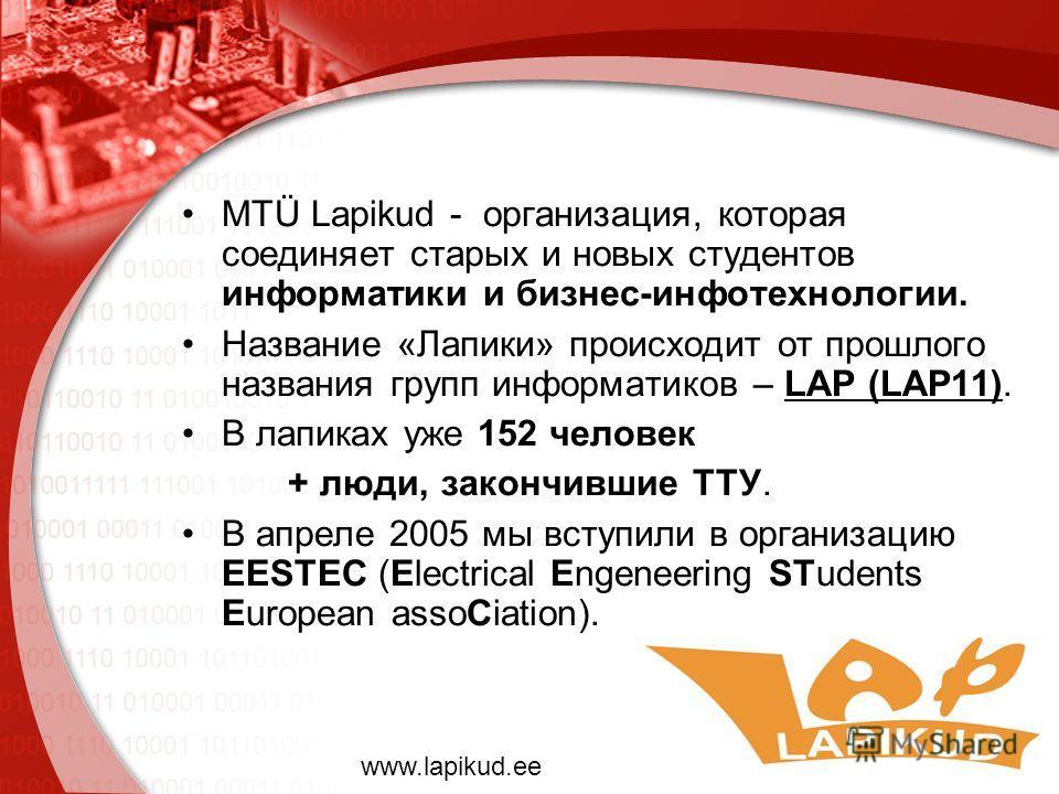 MTÜ Lapikud - организация, которая соединяет старых и новых студентов информатики и бизнес-инфотехнологии. Название «Лапики» происходит от прошлого названия групп информатиков – LAP (LAP11). В лапиках уже 152 человек + люди, закончившие ТТУ. В апреле