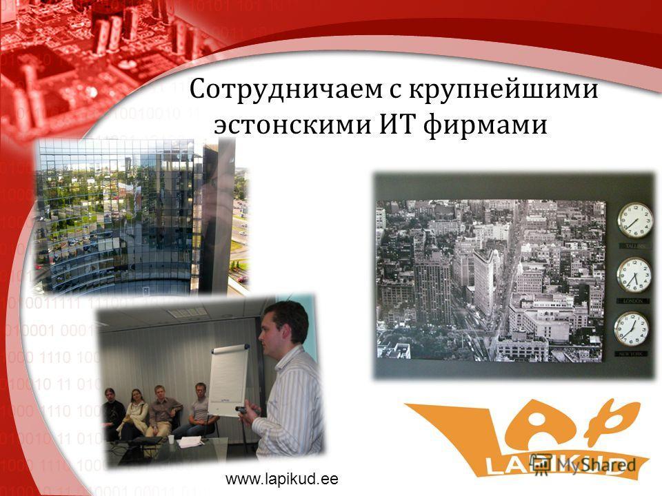 Сотрудничаем с крупнейшими эстонскими ИТ фирмами www.lapikud.ee