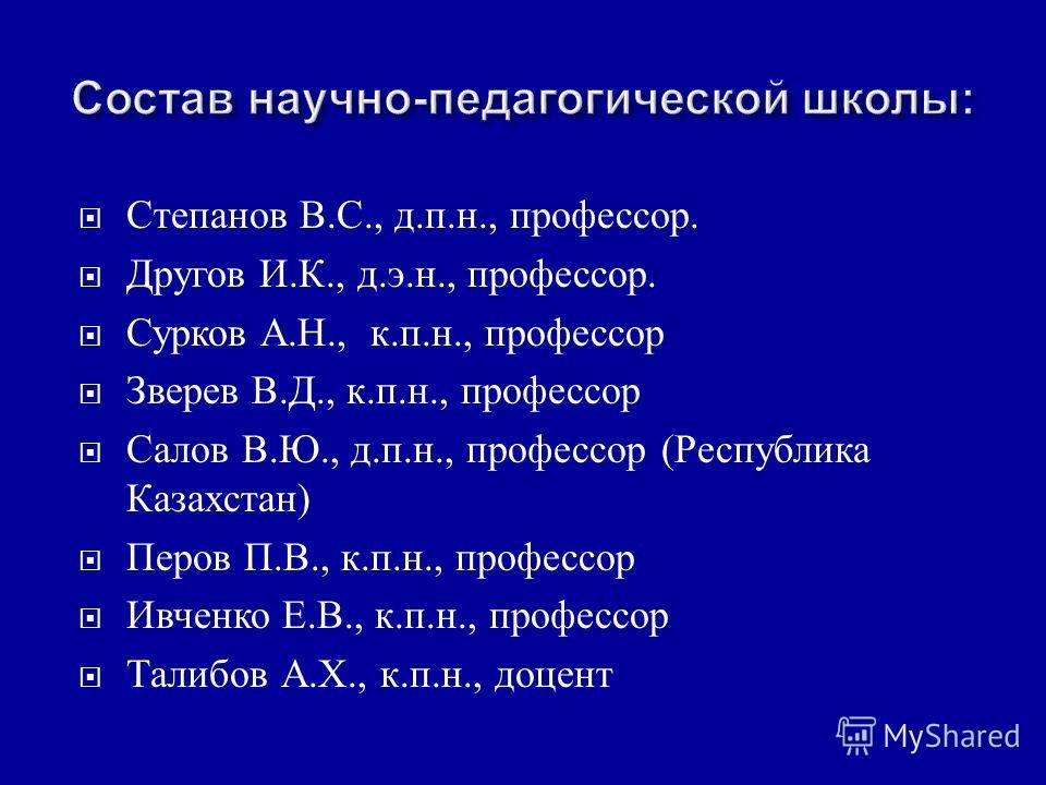 Степанов В. С., д. п. н., профессор. Другов И. К., д. э. н., профессор. Сурков А. Н., к. п. н., профессор Зверев В. Д., к. п. н., профессор Салов В. Ю., д. п. н., профессор ( Республика Казахстан ) Перов П. В., к. п. н., профессор Ивченко Е. В., к. п