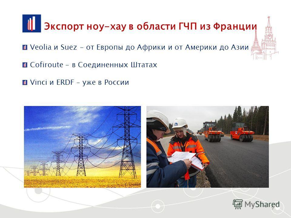 Экспорт ноу-хау в области ГЧП из Франции 9 Veolia и Suez - от Европы до Африки и от Америки до Азии Cofiroute - в Соединенных Штатах Vinci и ERDF – уже в России