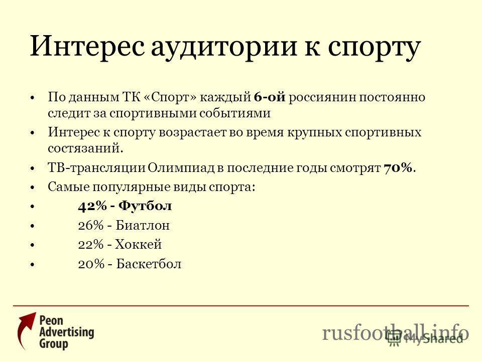 Интерес аудитории к спорту По данным ТК «Спорт» каждый 6-ой россиянин постоянно следит за спортивными событиями Интерес к спорту возрастает во время крупных спортивных состязаний. ТВ-трансляции Олимпиад в последние годы смотрят 70%. Самые популярные