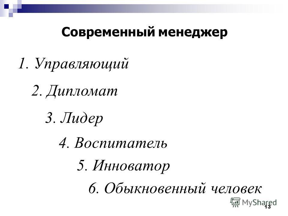13 Современный менеджер 3. Лидер 2. Дипломат 1. Управляющий 5. Инноватор 4. Воспитатель 6. Обыкновенный человек