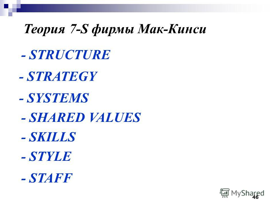 46 Теория 7-S фирмы Мак-Кинси - STRUCTURE - STRATEGY - SYSTEMS - SHARED VALUES - SKILLS - STYLE - STAFF