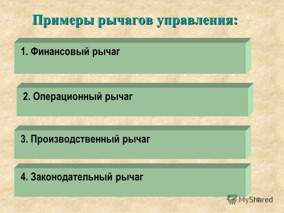 Примеры рычагов управления: 1. Финансовый рычаг 2. Операционный рычаг 8 3. Производственный рычаг 4. Законодательный рычаг