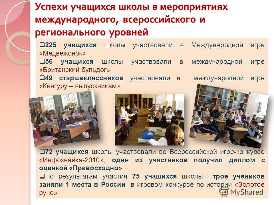 Успехи учащихся школы в мероприятиях международного, всероссийского и регионального уровней 225 учащихся школы участвовали в Международной игре «Медвежонок» 56 учащихся школы участвовали в международной игре «Британский бульдог» 49 старшеклассников у