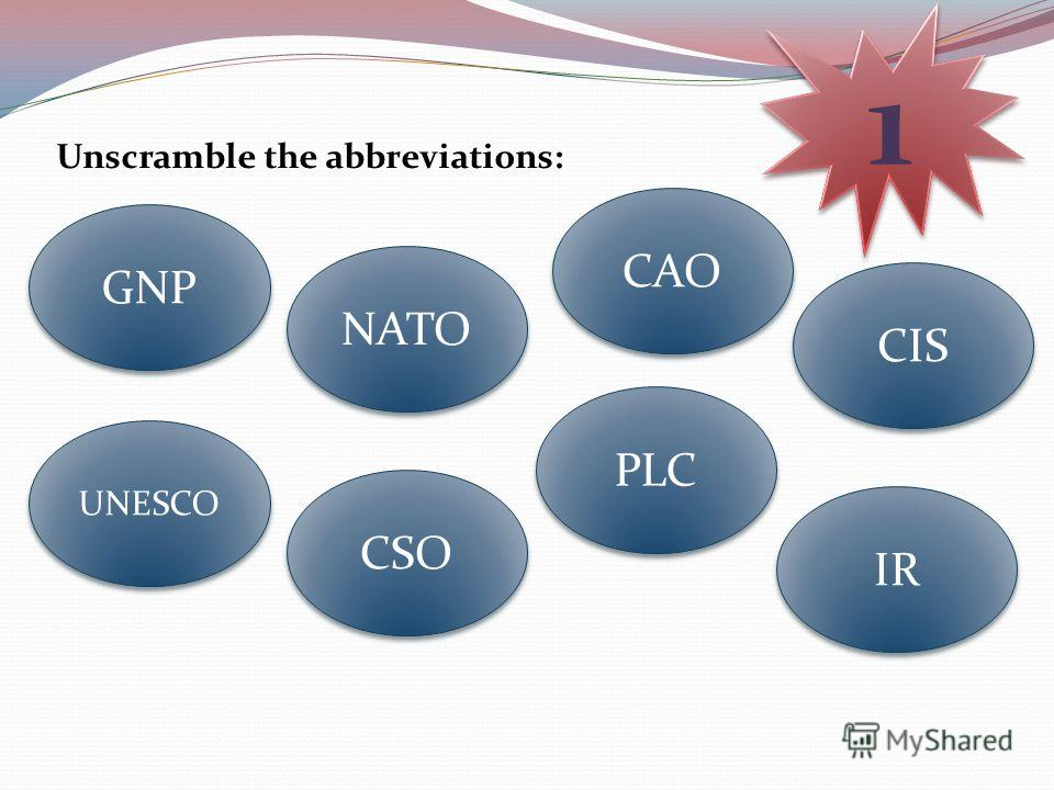 Unscramble the abbreviations: 1 1 CSO CIS NATO UNESCO CAO GNP PLC IR