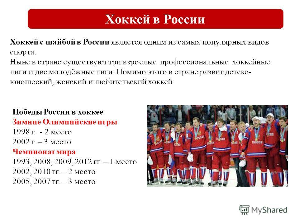 Хоккей в России Хоккей с шайбой в России является одним из самых популярных видов спорта. Ныне в стране существуют три взрослые профессиональные хоккейные лиги и две молодёжные лиги. Помимо этого в стране развит детско- юношеский, женский и любительс