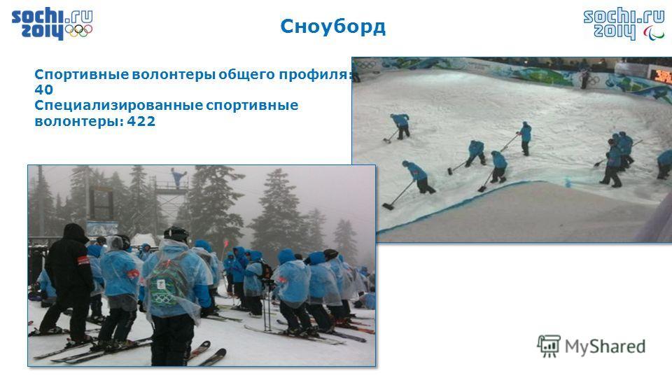 Сноуборд Спортивные волонтеры общего профиля: 40 Специализированные спортивные волонтеры: 422