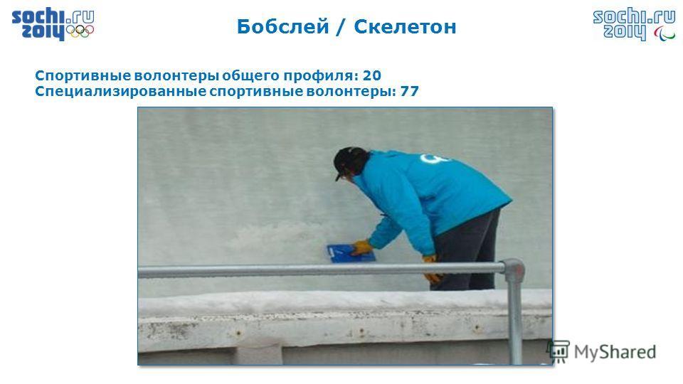 Бобслей / Скелетон Спортивные волонтеры общего профиля: 20 Специализированные спортивные волонтеры: 77
