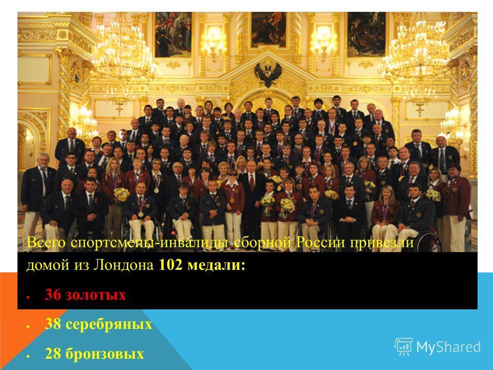 Всего спортсмены-инвалиды сборной России привезли домой из Лондона 102 медали: 36 золотых 38 серебряных 28 бронзовых