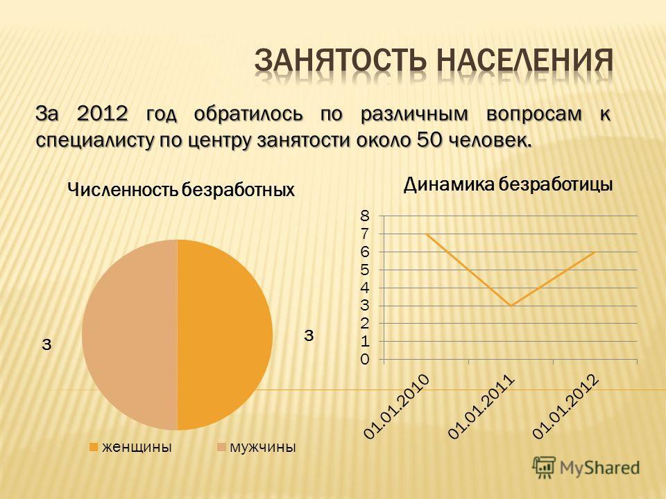 За 2012 год обратилось по различным вопросам к специалисту по центру занятости около 50 человек.