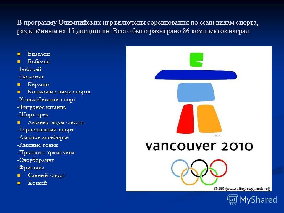 В программу Олимпийских игр включены соревнования по семи видам спорта, разделённым на 15 дисциплин. Всего было разыграно 86 комплектов наград Биатлон Биатлон Бобслей Бобслей-Бобслей-Скелетон Кёрлинг Кёрлинг Коньковые виды спорта Коньковые виды спорт