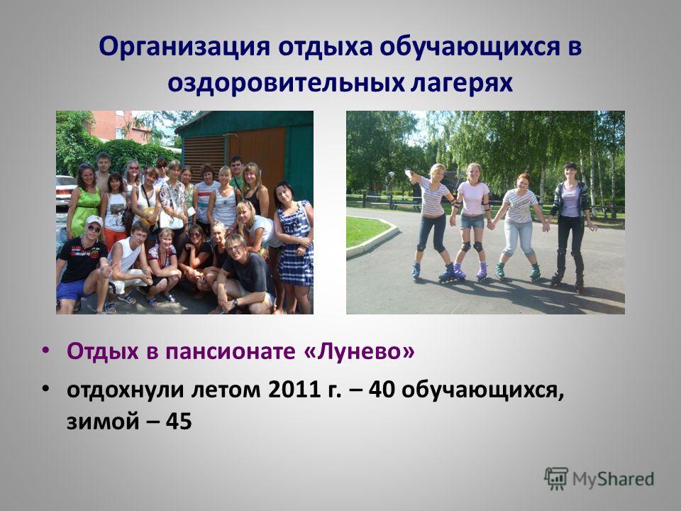 Организация отдыха обучающихся в оздоровительных лагерях Отдых в пансионате «Лунево» отдохнули летом 2011 г. – 40 обучающихся, зимой – 45