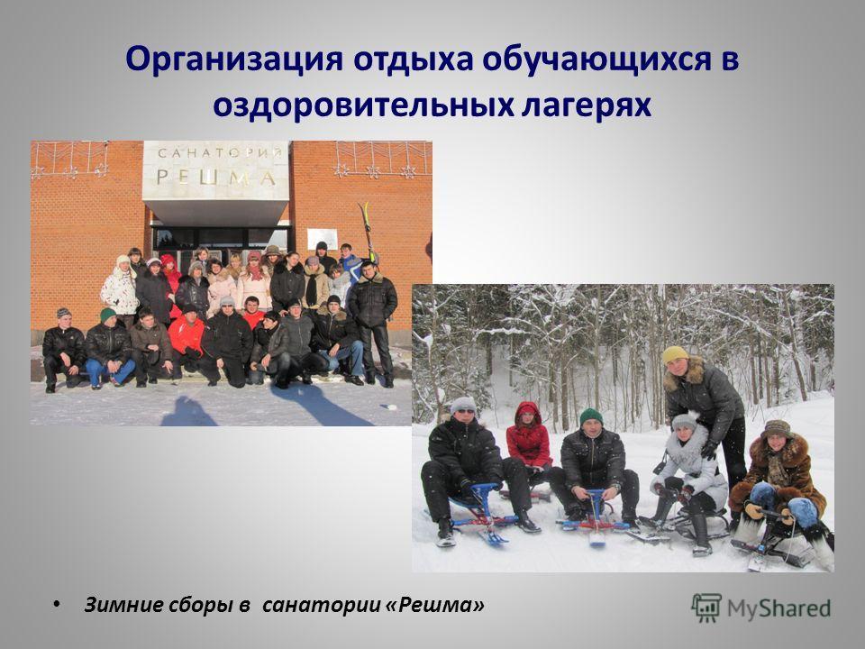 Организация отдыха обучающихся в оздоровительных лагерях Зимние сборы в санатории «Решма»
