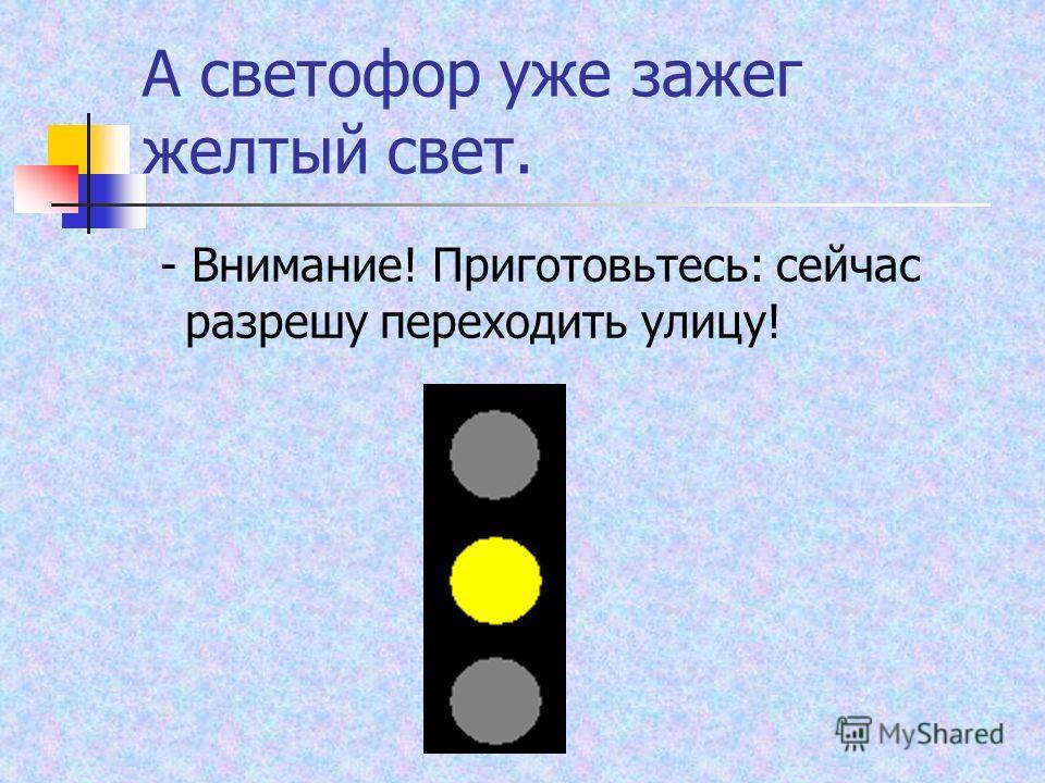 А светофор уже зажег желтый свет. - Внимание! Приготовьтесь: сейчас разрешу переходить улицу!