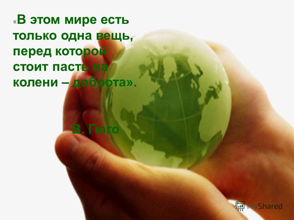 « В этом мире есть только одна вещь, перед которой стоит пасть на колени – доброта». В. Гюго