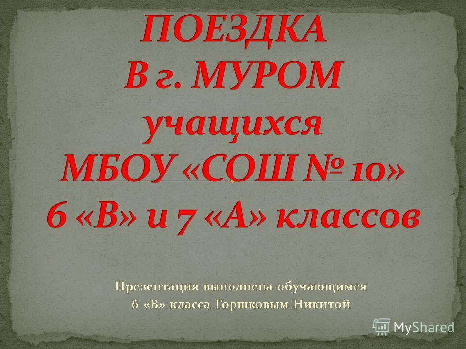 Презентация выполнена обучающимся 6 «В» класса Горшковым Никитой
