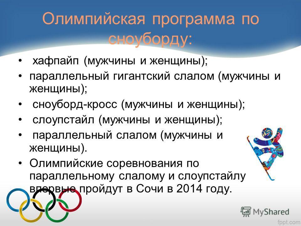 Олимпийская программа по сноуборду: хафпайп (мужчины и женщины); параллельный гигантский слалом (мужчины и женщины); сноуборд-кросс (мужчины и женщины); слоупстайл (мужчины и женщины); параллельный слалом (мужчины и женщины). Олимпийские соревнования