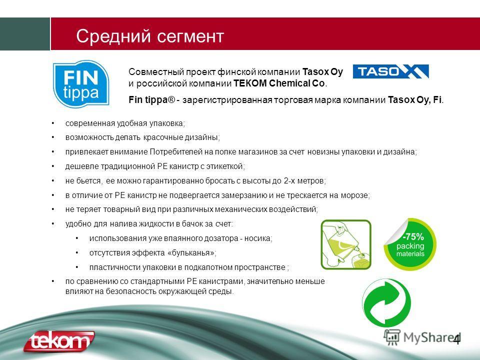 4 Средний сегмент Совместный проект финской компании Tasox Oy и российской компании ТЕКОМ Chemical Co. Fin tippa® - зарегистрированная торговая марка компании Tasox Oy, Fi. современная удобная упаковка; возможность делать красочные дизайны; привлекае