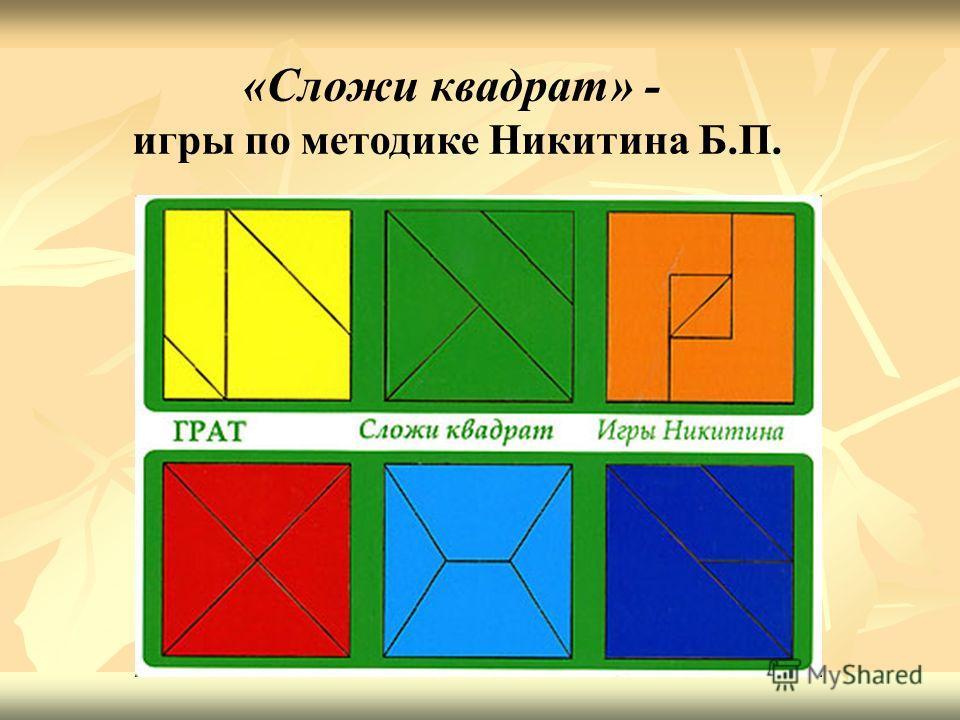 «Сложи квадрат» - игры по методике Никитина Б.П.