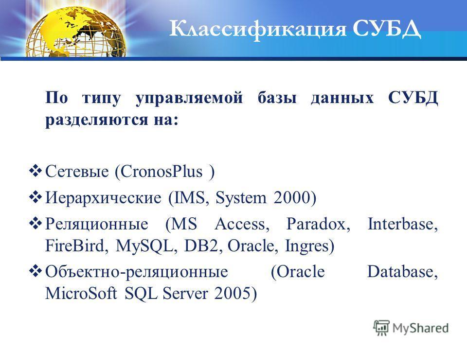 Классификация СУБД По типу управляемой базы данных СУБД разделяются на: Сетевые (CronosPlus ) Иерархические (IMS, System 2000) Реляционные (MS Access, Paradox, Interbase, FireBird, MySQL, DB2, Oracle, Ingres) Объектно-реляционные (Oracle Database, Mi