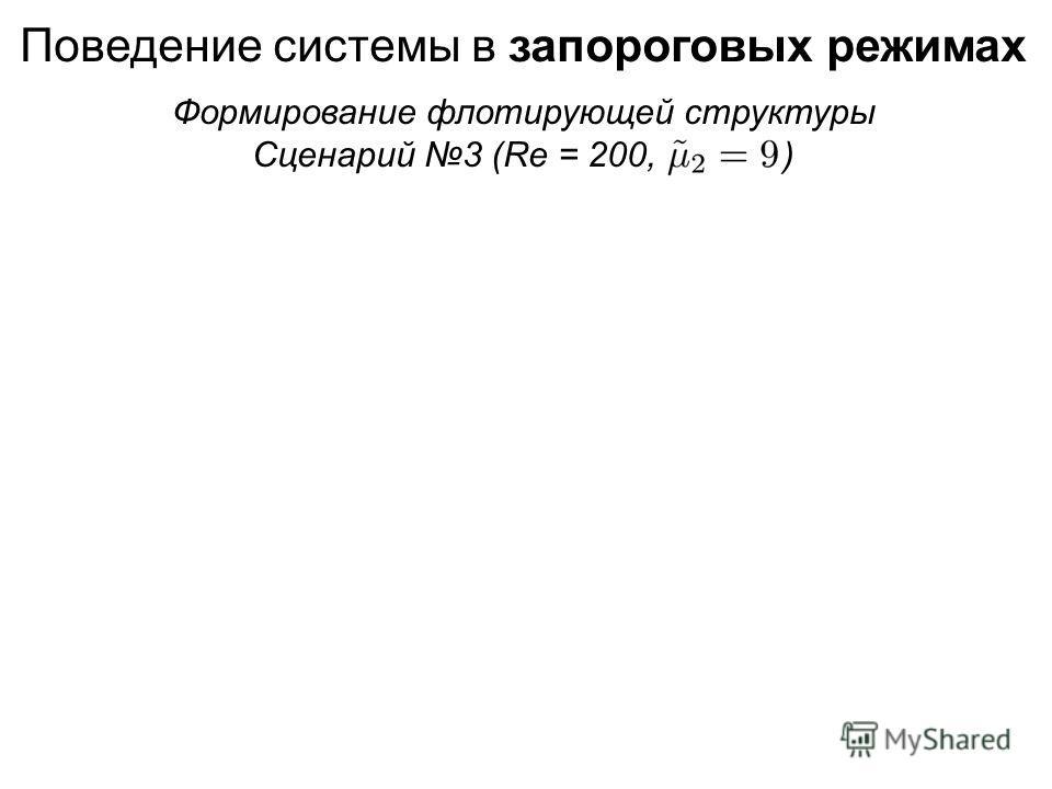 Поведение системы в запороговых режимах Формирование флотирующей структуры Сценарий 3 (Re = 200, )