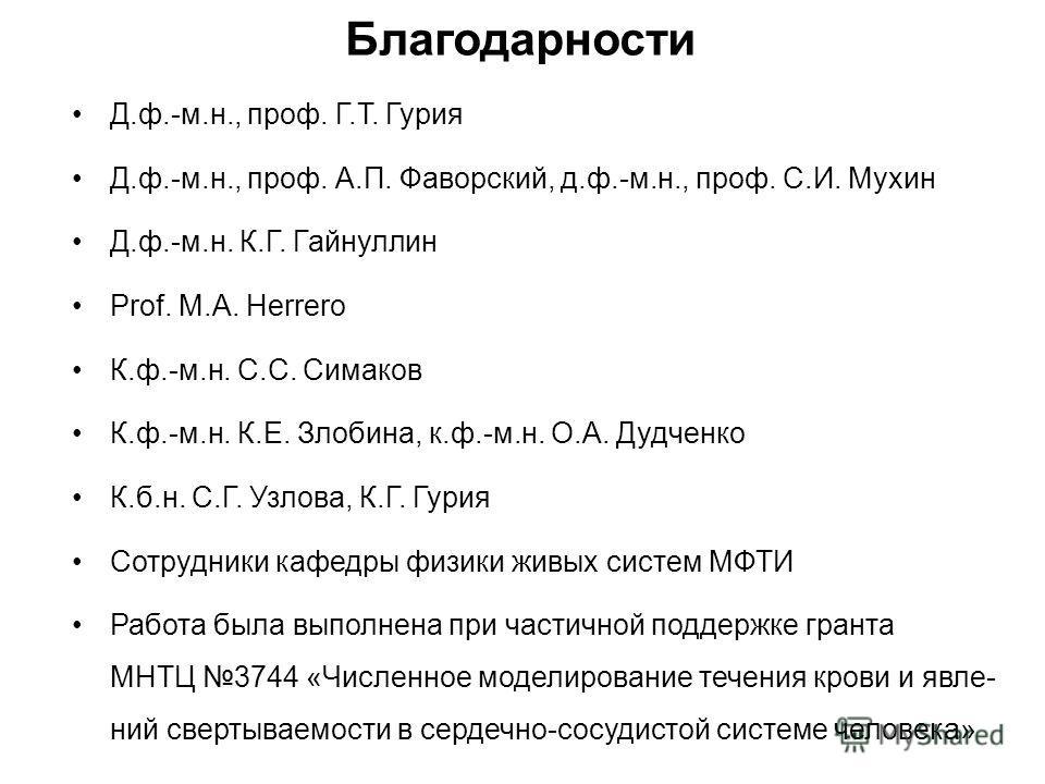 Благодарности Д.ф.-м.н., проф. Г.Т. Гурия Д.ф.-м.н., проф. А.П. Фаворский, д.ф.-м.н., проф. С.И. Мухин Д.ф.-м.н. К.Г. Гайнуллин Prof. M.A. Herrero К.ф.-м.н. С.С. Симаков К.ф.-м.н. К.Е. Злобина, к.ф.-м.н. О.А. Дудченко К.б.н. С.Г. Узлова, К.Г. Гурия С