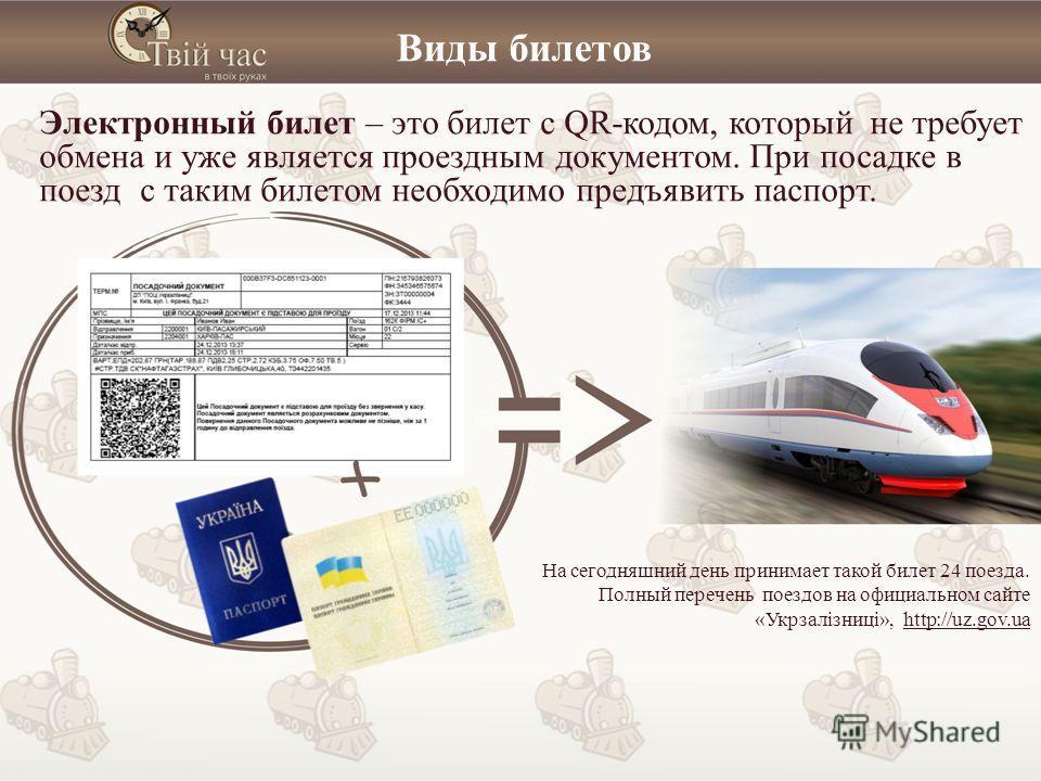 Виды билетов Электронный билет – это билет с QR-кодом, который не требует обмена и уже является проездным документом. При посадке в поезд с таким билетом необходимо предъявить паспорт. На сегодняшний день принимает такой билет 24 поезда. Полный переч