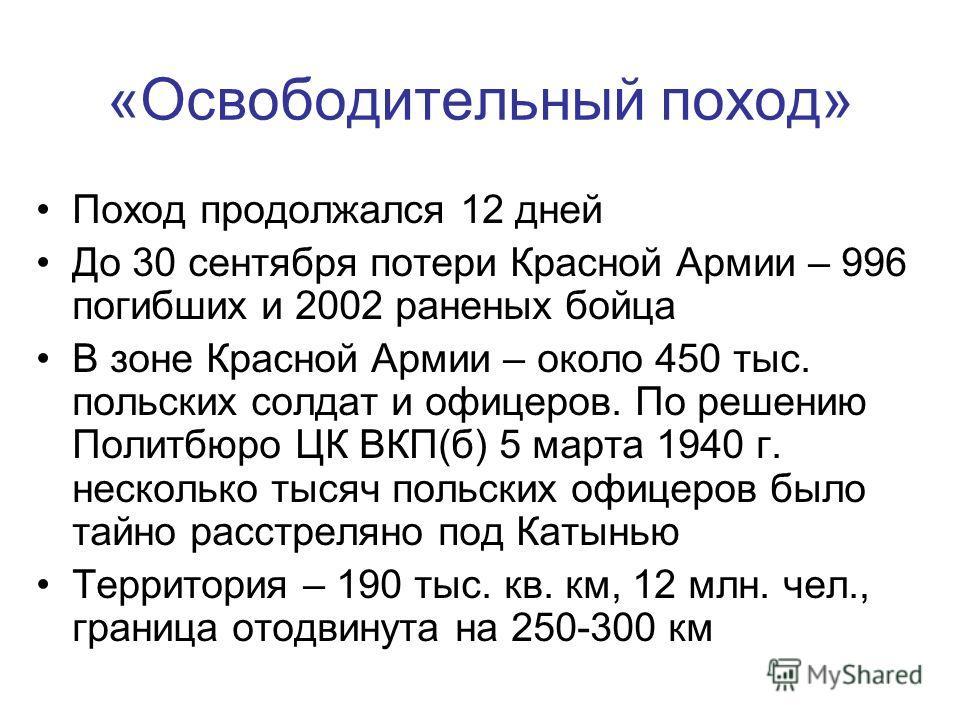 «Освободительный поход» Поход продолжался 12 дней До 30 сентября потери Красной Армии – 996 погибших и 2002 раненых бойца В зоне Красной Армии – около 450 тыс. польских солдат и офицеров. По решению Политбюро ЦК ВКП(б) 5 марта 1940 г. несколько тысяч