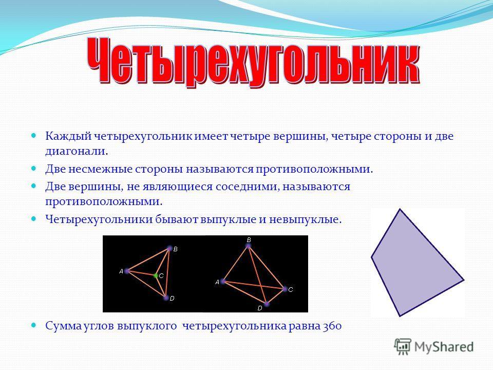 ЧЕТЫРЕХУГОЛЬНИКИ ВЫПУКЛЫЕНЕВЫПУКЛЫЕ параллелограмм прямоугольник ромб трапеция квадрат прямоугольная равнобедренная