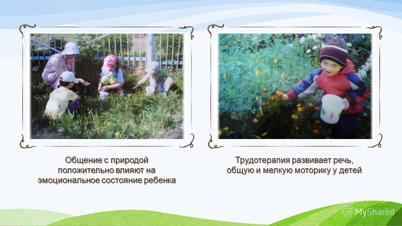 Общение с природой положительно влияют на эмоциональное состояние ребенка Трудотерапия развивает речь, общую и мелкую моторику у детей
