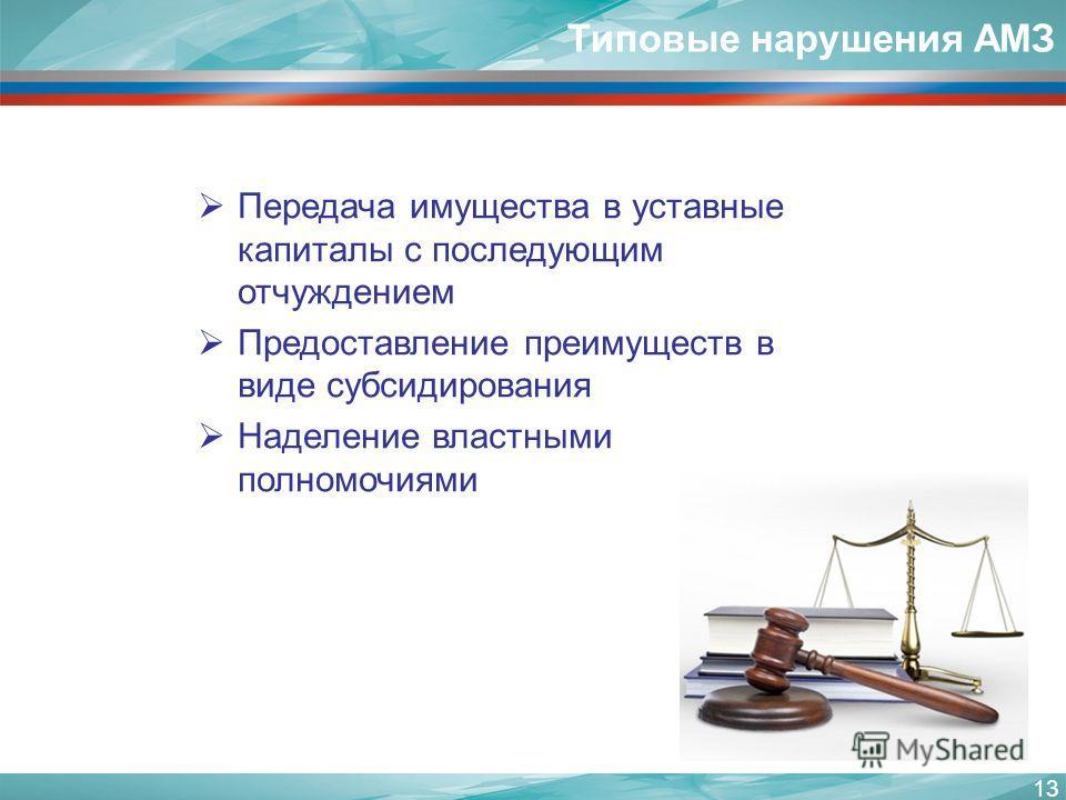 Типовые нарушения АМЗ 13 Передача имущества в уставные капиталы с последующим отчуждением Предоставление преимуществ в виде субсидирования Наделение властными полномочиями