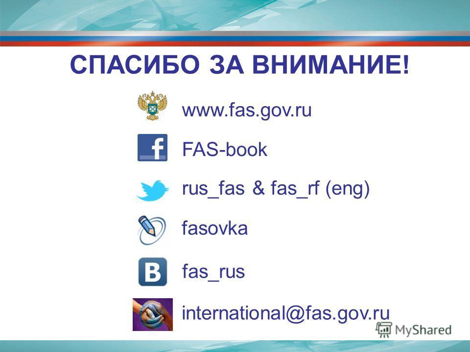 СПАСИБО ЗА ВНИМАНИЕ! www.fas.gov.ru FAS-book rus_fas fasovka & fas_rf (eng) international@fas.gov.ru fas_rus