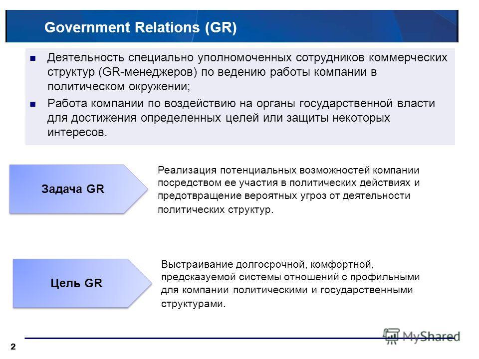 Government Relations (GR) Деятельность специально уполномоченных сотрудников коммерческих структур (GR-менеджеров) по ведению работы компании в политическом окружении; Работа компании по воздействию на органы государственной власти для достижения опр