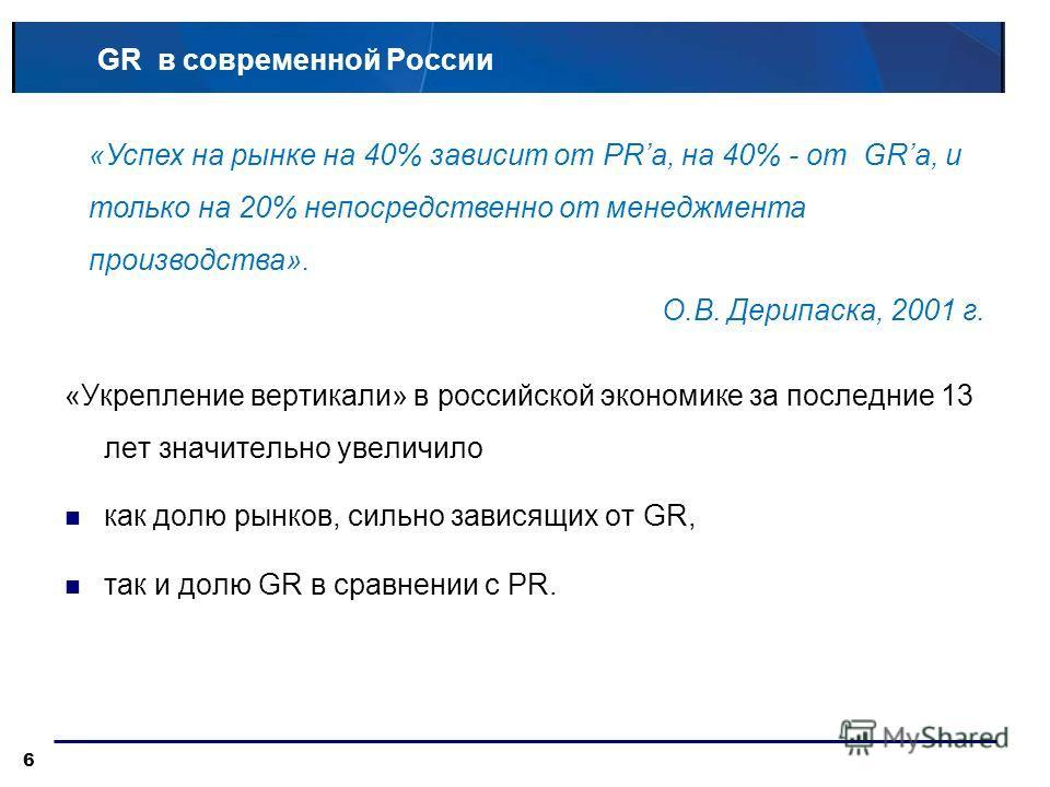 GR в современной России «Укрепление вертикали» в российской экономике за последние 13 лет значительно увеличило как долю рынков, сильно зависящих от GR, так и долю GR в сравнении с PR. 6 «Успех на рынке на 40% зависит от PRа, на 40% - от GRа, и тольк