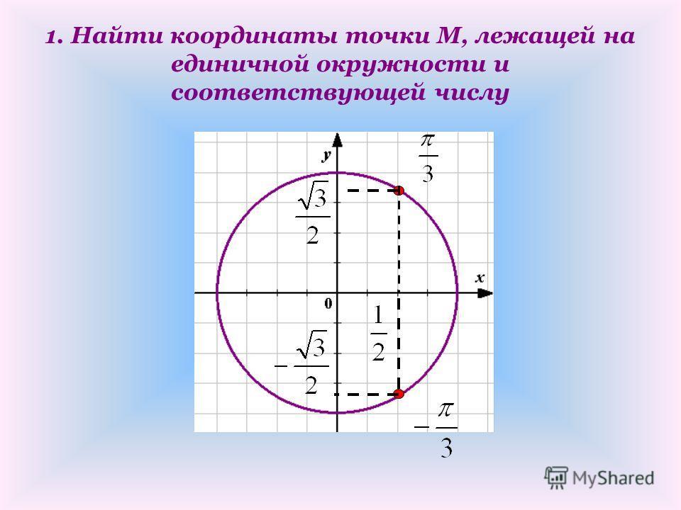 1. Найти координаты точки М, лежащей на единичной окружности и соответствующей числу
