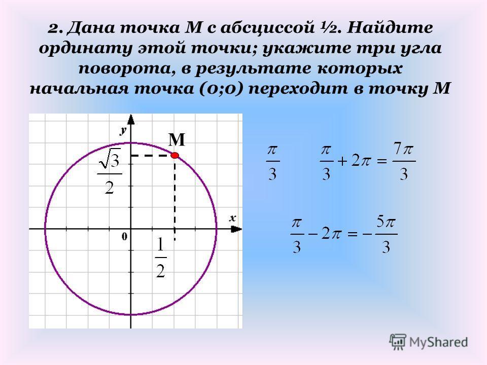 2. Дана точка М с абсциссой ½. Найдите ординату этой точки; укажите три угла поворота, в результате которых начальная точка (0;0) переходит в точку М М