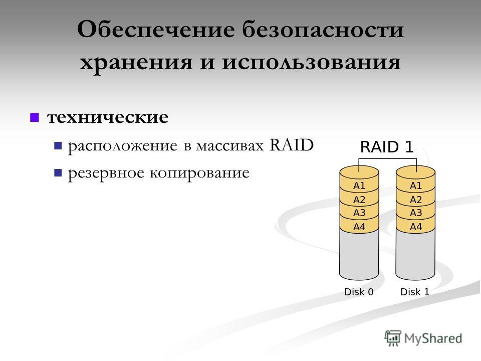 Обеспечение безопасности хранения и использования технические расположение в массивах RAID резервное копирование
