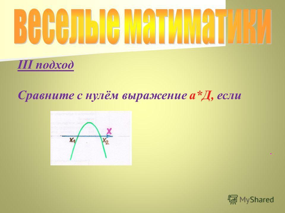 III подход Сравните с нулём выражение а*Д, если.