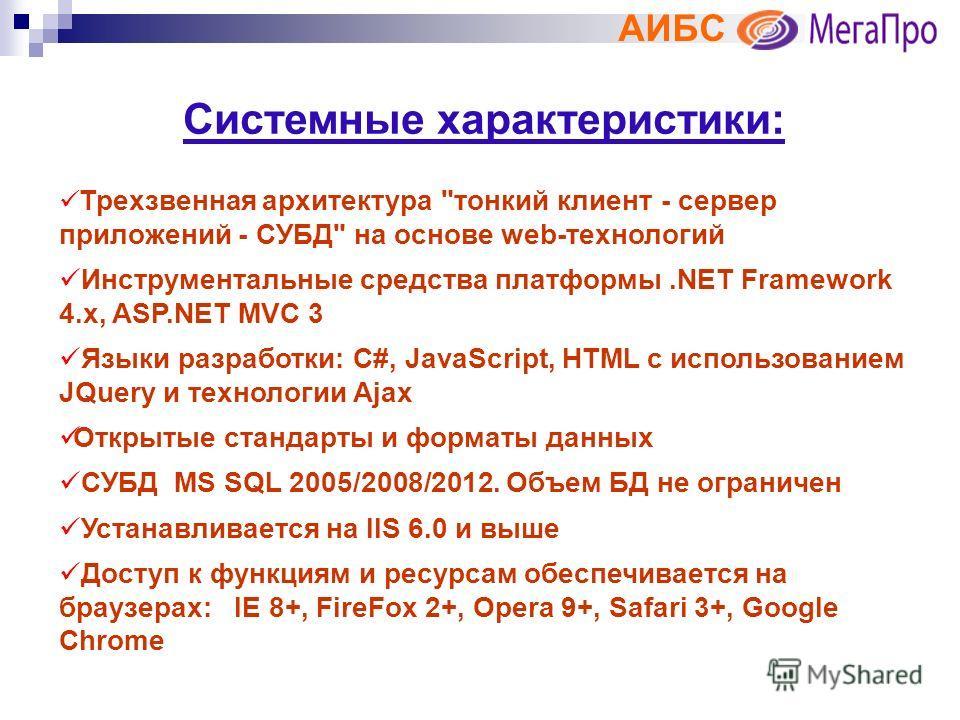 АИБС Системные характеристики: Трехзвенная архитектура