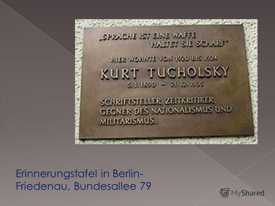 Erinnerungstafel in Berlin- Friedenau, Bundesallee 79