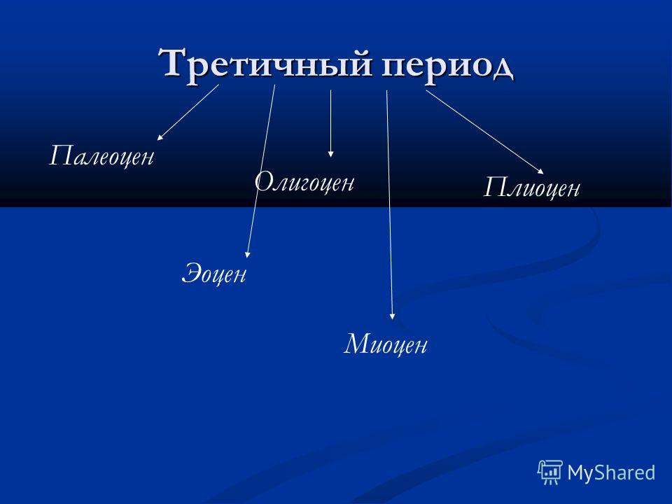 Третичный период Палеоцен Эоцен Олигоцен Миоцен Плиоцен