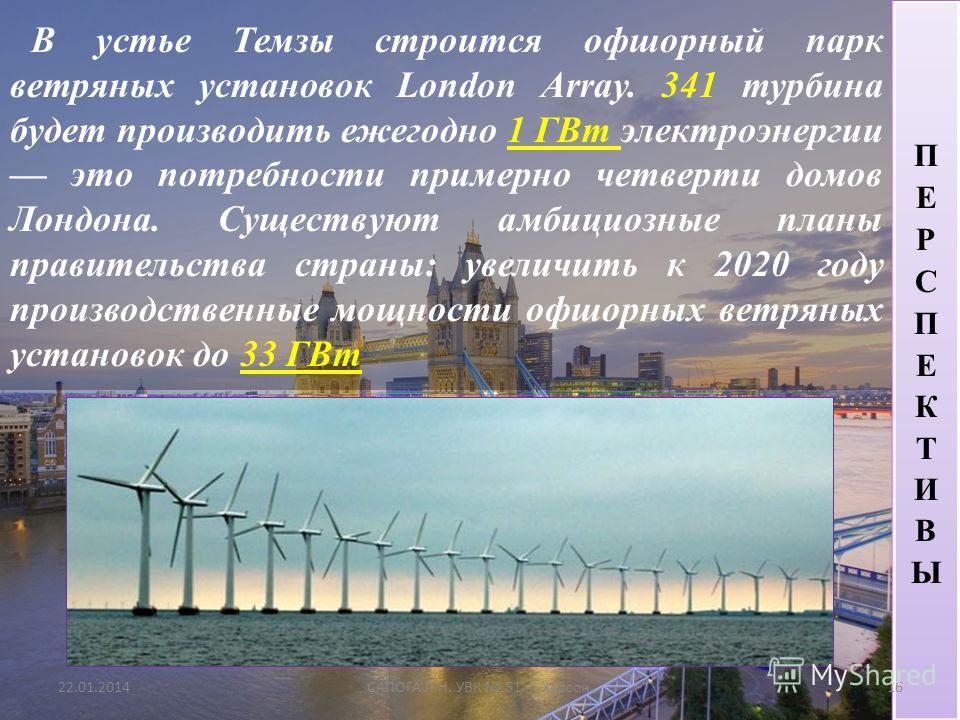 В устье Темзы строится офшорный парк ветряных установок London Array. 341 турбина будет производить ежегодно 1 ГВт электроэнергии это потребности примерно четверти домов Лондона. Существуют амбициозные планы правительства страны: увеличить к 2020 год